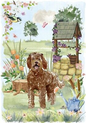"""Labradoodle (Brown) Dog (4""""x 6"""") Blank Card/Notelet """"Wishing Well"""" By Starprint"""