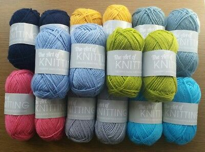 16x25g Balls The Art of Knitting Wool/Yarn(Assorted-Your Choice Colours-Same)New