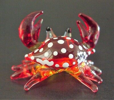 Miniature Curio Display Glass CRAB Painted Shell Red Glass Ornament Glass Animal