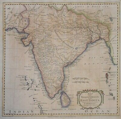 India - A Map Of The European Settlements In The East Indies By T. Kitchin 1783.