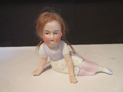 Antique German Bisque Early Wig Figurine Piano Baby