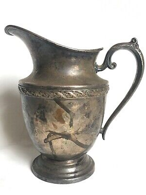 W.m. Rogers Silver-Plate Pitcher Spring Flower Water Pitcher