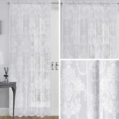 White Voile Curtain Elizabeth Scalloped Panel Ready Made Rod Slot Top Curtains