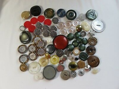 Lot of 70+ Misc Vintage Sewing Buttons Plastic MOP Metal Some Sets