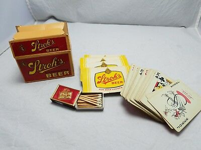 Vintage Stroh's Bohemian Beer PLAYING CARDS 2 decks AND CARLING MATCHES