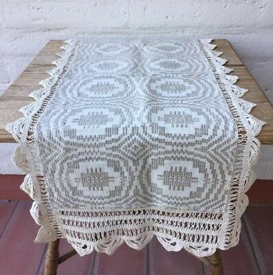 Vintage Mission Style Linen Hand Woven Runner Wide Crochet Sides Arts Crafts