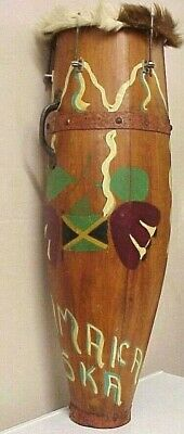 Antique Jamaican Folk Art Hand Painted Wooden Conga Drum Percussion Instrument