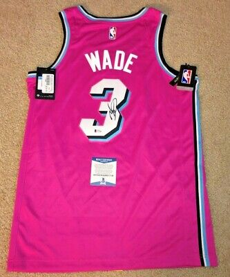 e3cf5ad2cbb0 Dwyane Wade Signed Miami Heat Sunset Swingman Vice Jersey Marquette Sold  Out Bas
