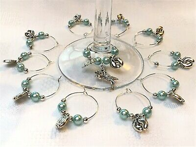10+1 Baby Shower Wine Glass Charms Blue Pink White Keepsake Christening Favours