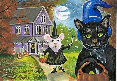 Aceo Print Of Painting Black Cat Mouse Mice Ryta Halloween Folk Pumpkins Kitten