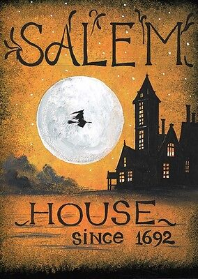 8x10 PRINT OF PAINTING RYTA HALLOWEEN SALEM WITCH SIGN HAUNTED HOUSE SPOOKY ART