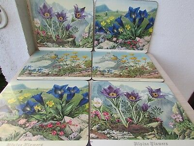 Vintage Pimpernel Lacquer 'Alpine Flowers' 6 Place Mats, Boxed, Very Good Cond