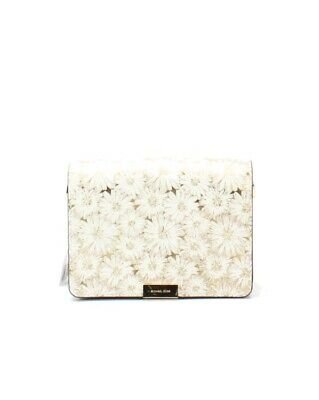 53f88cecefca0a Michael Kors NEW White Gold Jade Medium Gusset Floral Leather Clutch $228-  #039