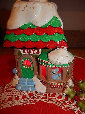 Vintage ceramic Light up Christmas House Toy Shop