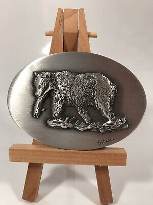 Good Lad Products Pewter Bear And Salmon Belt Buckle