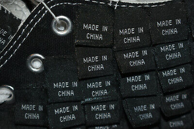 'MADE IN CHINA' TAGS HI-TOP TRAINERS - unique art college project, size 8