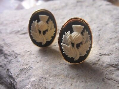 Pair Of Scottish Thistle Cameo Gold Cuff Links - Scotland - Celtic - Scarf Pin
