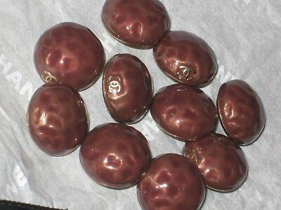 CHANEL 10 CC LOGO FRONT BROWN  BUTTONS 12 MM SMALL  NEW lot 10
