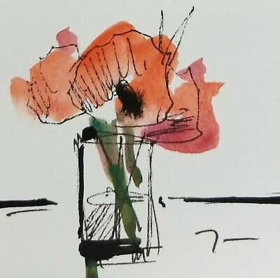 JOSE TRUJILLO ORIGINAL Watercolor Painting SIGNED Small 3x3 Red Poppies