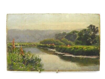 Antique late 19th century oil painting on panel impressionist river landscape
