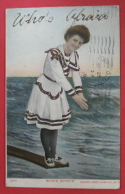 Antique Who's Afraid Glitter Postcard-Old Fashioned Bathing Suit-Woman Diving