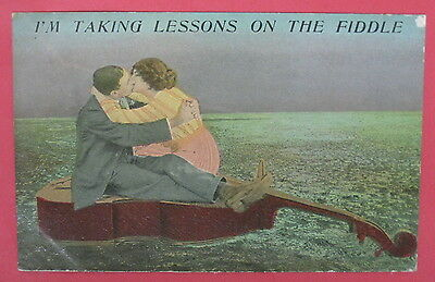Antique Romantic Postcard-I'm Taking Lessons On The Fiddle-Kissing-Romance