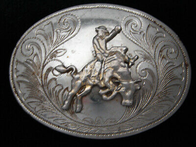QI05111 VINTAGE 1970s **BULL RIDER** RODEO TROPHY WESTERN & COWBOY BELT BUCKLE