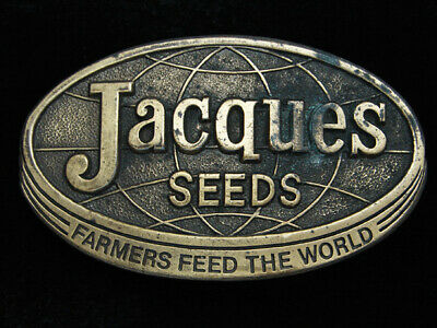 Qj05142 Vintage 1977 **Jacques Seeds Farmers Feed The World** Belt Buckle