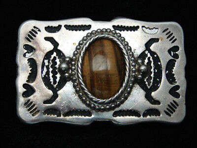 RA01117 VINTAGE 1970s **TIGER EYE STONE** WESTERN & COWBOY DESIGN BELT BUCKLE