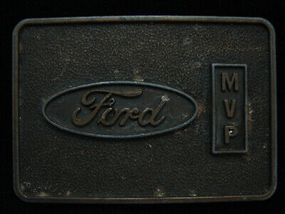 NI05114 VINTAGE 1970s **FORD MVP** MOTOR COMPANY AUTO/CAR BRASSTONE BELT BUCKLE