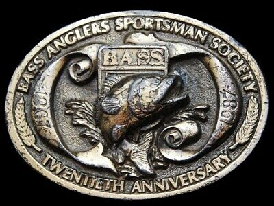 JJ01165 VINTAGE 1987 **BASS ANGLERS SPORTSMAN SOCIETY** 20th YEAR BELT BUCKLE