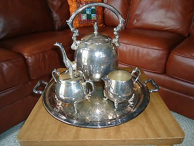 Antique Coffee/Tea Set Sheridan Silver On Copper Plate Teapot/Tray/Sugar/Creamer
