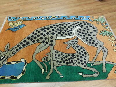 SUPERFINE TURKISH VE DY LION HUNTING SHAPE QASHQAI YALAMEH 4.4x6PICTORIAL RUG