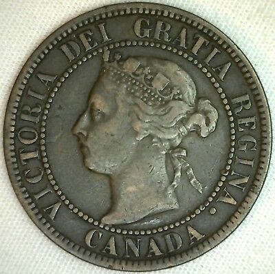 1899 Copper Canadian Large Cent Coin 1-Cent Canada K11