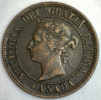 1888 Copper Canadian Large Cent One Cent Coin VF #16