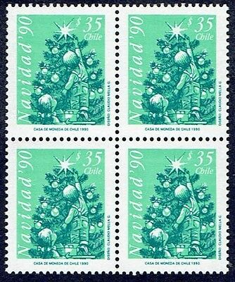 Chile 1990 Stamp # 1485 Mnh Block Of Four Christmas 90'