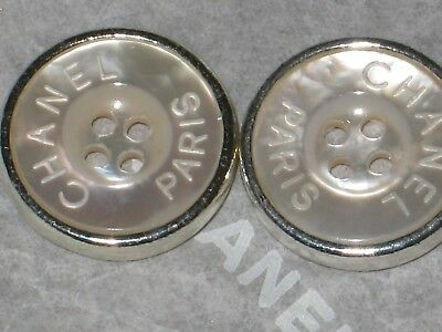 CHANEL PARIS 2 SILVER  MOTHER OF PEARL BUTTONS 14 MM / over 1/2 '' LOT 2 WOW