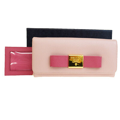 70106066c63baa Authentic PRADA MILANO Logos Long Bifold Wallet Purse Leather Pink Italy  68BG427