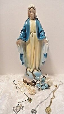 """VIRGIN MARY 18"""" Blue Robe Statue + 4 Medals Rosary & Corsage vintage Catholic"""