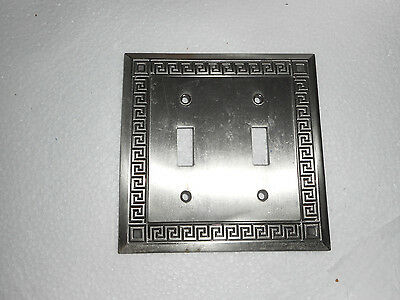 Vntg LHMC Brass Light Switch Cover Silver Heavy Geometric Design 2 Gang Double