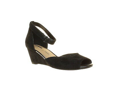 232b49db0ab Clarks Womens Flores Raye Black Suede Ankle Strap Heels Size 9 (235992)