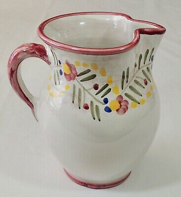 "Solimene Vietri Italy 6 1/2"" Floral Hand Painted Pitcher New"