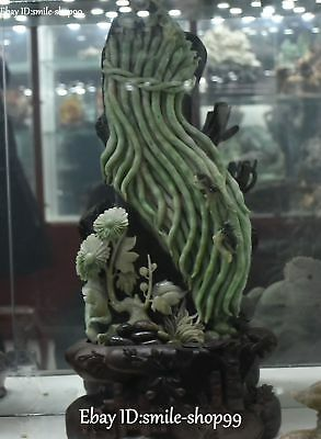 """15"""" Natural Dushan Jade Hand Carved French Green Bean Flower Tree Insect Statue"""