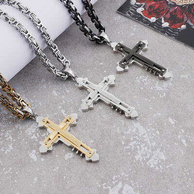 28'' Large Stainless Steel three layers Cross Pendant Men's Byzantine Necklace