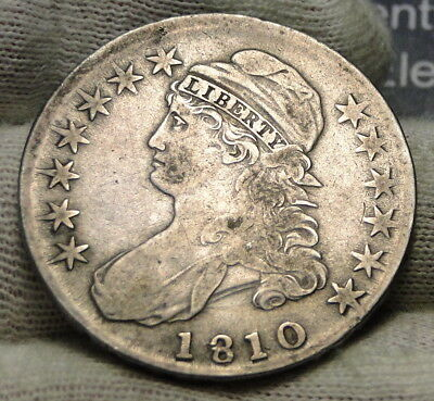 1810 Capped Bust Half Dollar 50 Cents - Nice Coin, Free Shipping (7803)