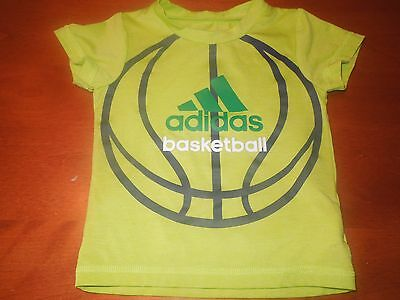 Infant Boys ADIDAS S/S Bright Green Athletic Top w/ Basketball Graphics SZ 12M