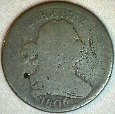 1806 1/2 Cent Draped Bust Half Cent Copper Coin Large 6 Variety Damaged AG