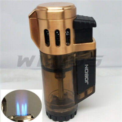 2xGlodJOBON High-Capacity Triple Jet  Torch Gas Lighter for Pipe Cigar Cigarette