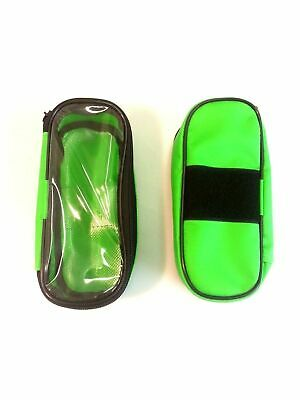 Small Green Dura Wipe Down Clear Lid Velcro Pouch For First Aid Paramedic Bags