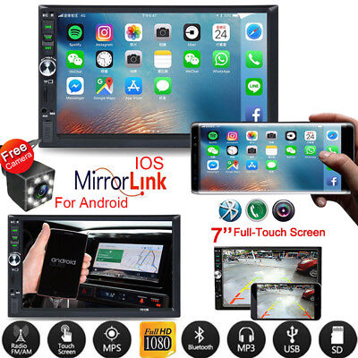 """2 DIN 7"""" HD Car Stereo Radio MP5 FM Player AUX Android/IOS Mirror Link + Camera"""